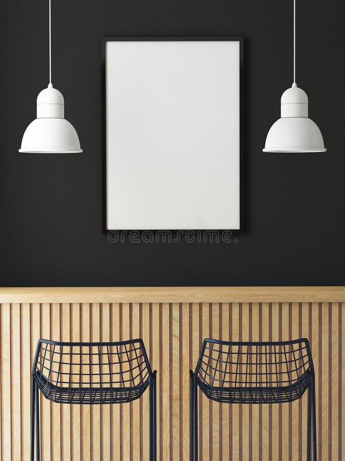 嘲笑在减速火箭的行家咖啡馆餐馆,内部背景墙壁上的海报框架  免版税库存图片
