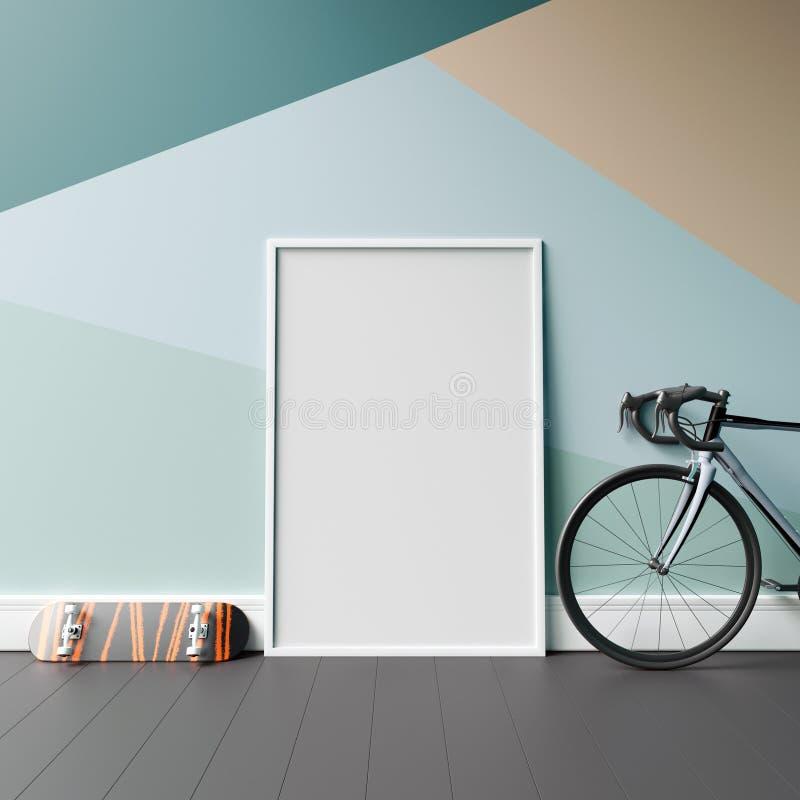 嘲笑在几何墙壁上的空白的海报有自行车和滑板的 向量例证