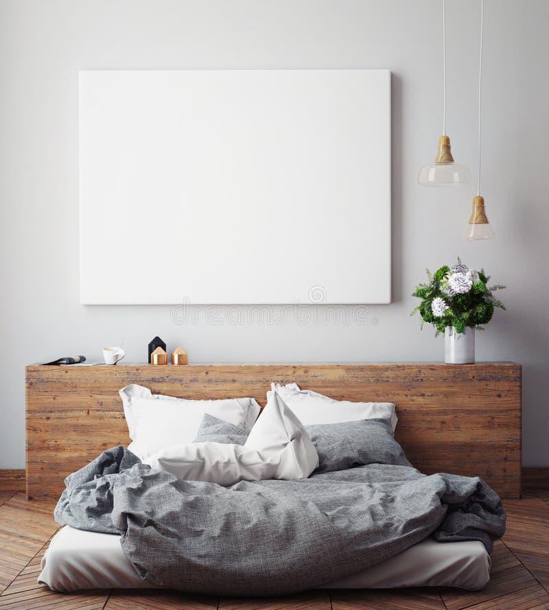 嘲笑在卧室墙壁上的空白的海报, 库存照片