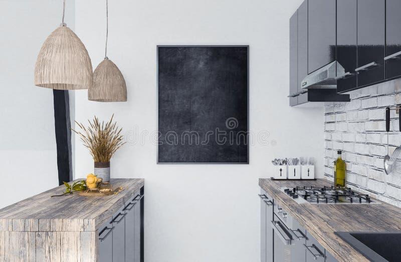 嘲笑在厨房内部, Scandi-boho样式的海报框架 免版税库存图片