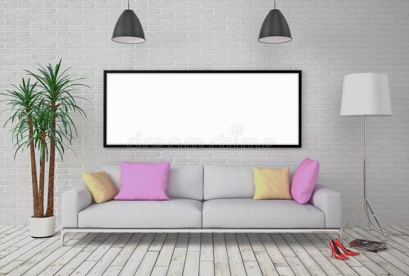 嘲笑在墙壁上的空白的海报有灯和沙发的 库存例证