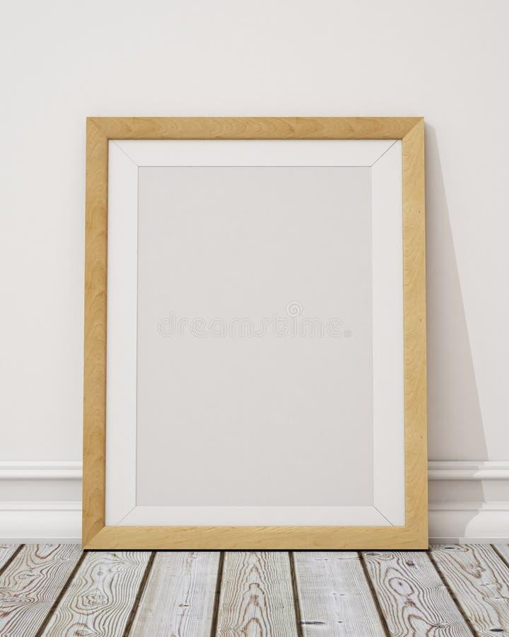 嘲笑在墙壁和地板上的空白的木画框 库存例证