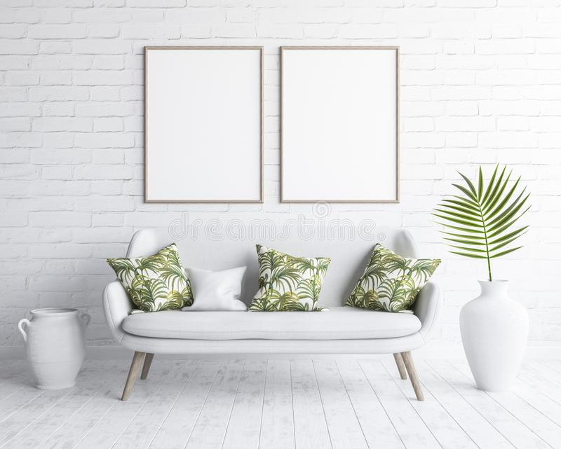 嘲笑在客厅内部的框架与在白色砖墙上的白色沙发,斯堪的纳维亚样式 库存例证