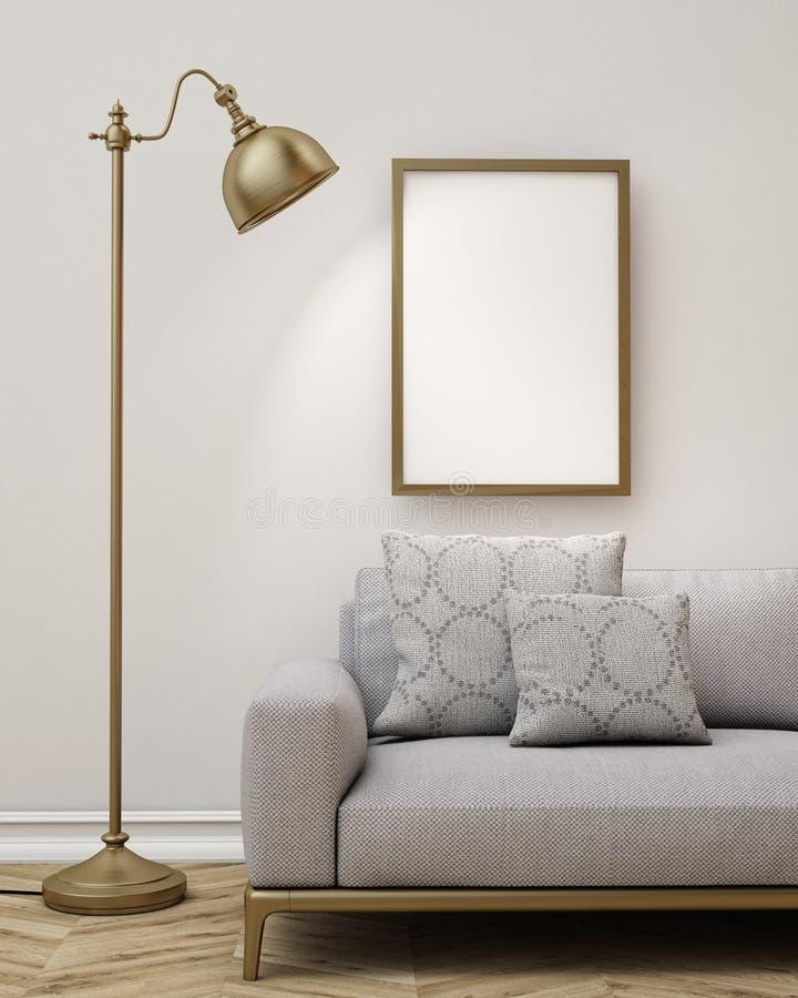 嘲笑在客厅,背景墙壁上的空白的海报  皇族释放例证
