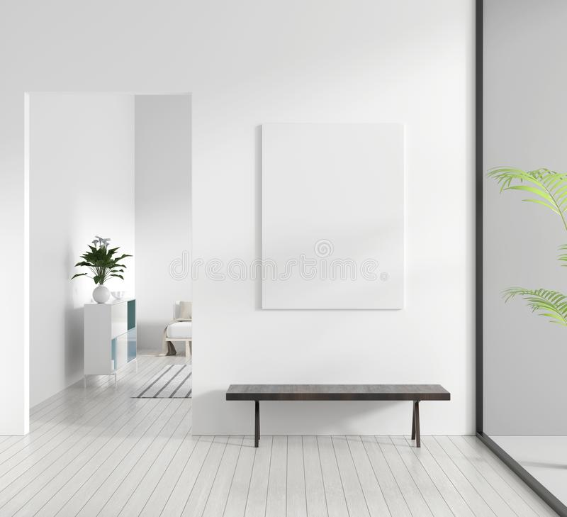 嘲笑在斯堪的纳维亚样式行家内部的海报框架 现代客厅白色现代内部  3d例证 皇族释放例证