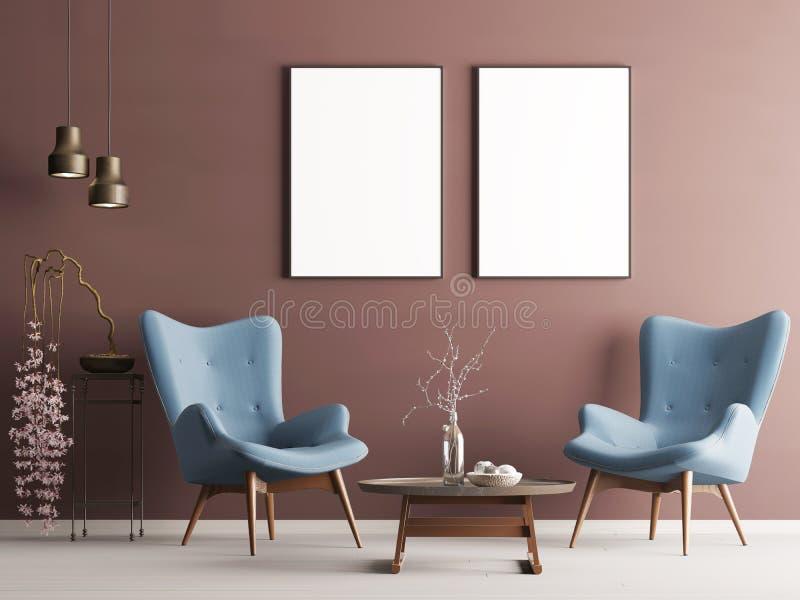 嘲笑在淡色现代内部的海报与伯根地墙壁、软的扶手椅子、植物和灯 向量例证