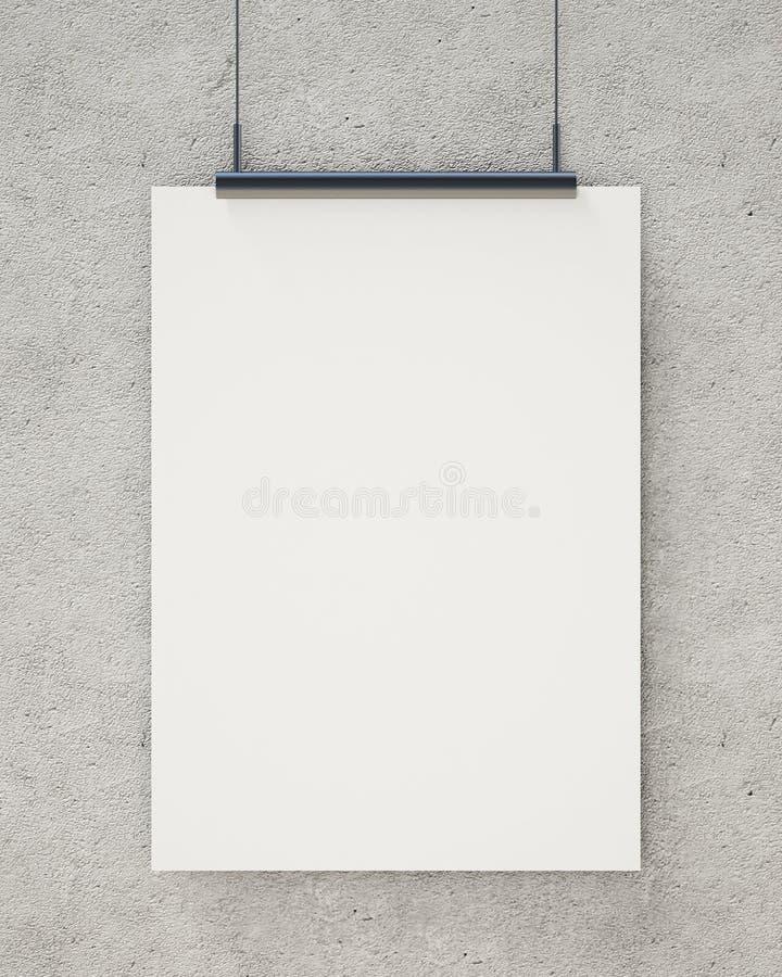 嘲笑在混凝土墙,背景上的空白的白色垂悬的海报 向量例证