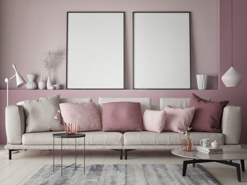 嘲笑在玫瑰色墙壁上的海报在行家客厅,色的柔和的淡色彩 皇族释放例证