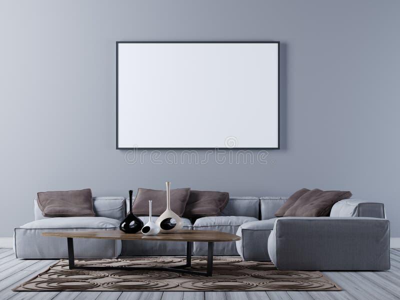 嘲笑在现代客厅墙壁上的空白的海报有壁角沙发的 库存例证