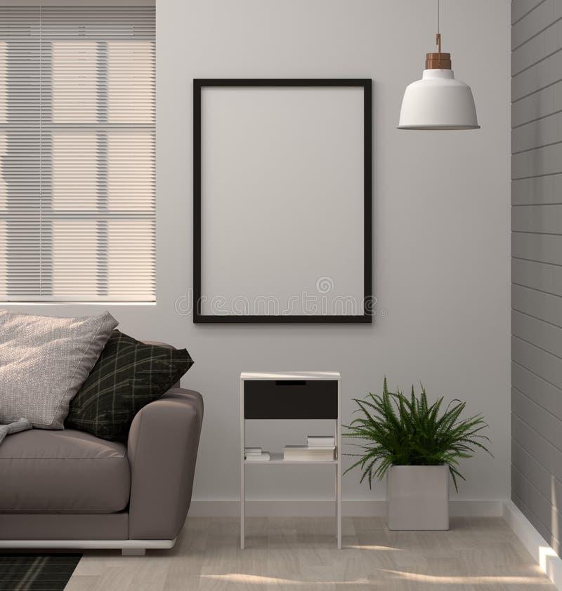 嘲笑在现代客厅3D翻译的沙发的海报框架 向量例证
