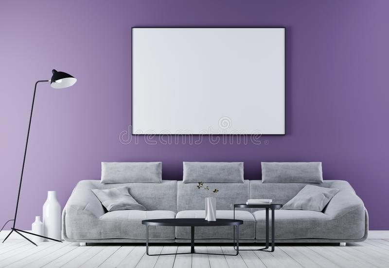 嘲笑在现代葡萄酒内部,有白革沙发的客厅的海报框架 向量例证