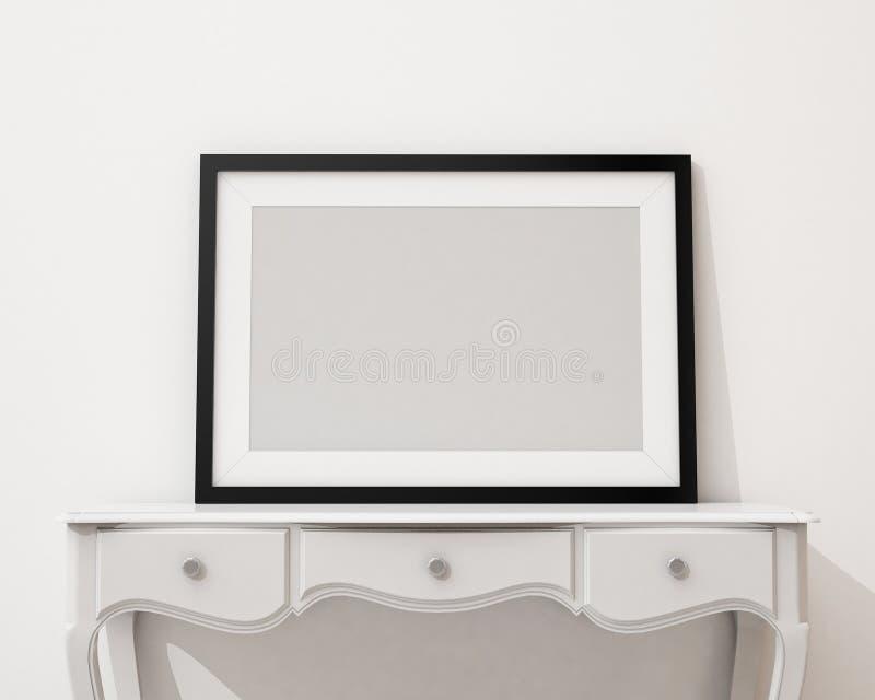 嘲笑在白色书桌和墙壁,背景上的空白的画框 库存例证