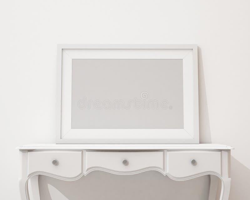嘲笑在白色书桌和墙壁,背景上的空白的黑画框