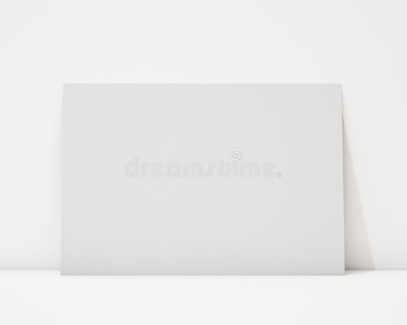 嘲笑在白色墙壁和地板,背景上的空白的水平的海报 向量例证