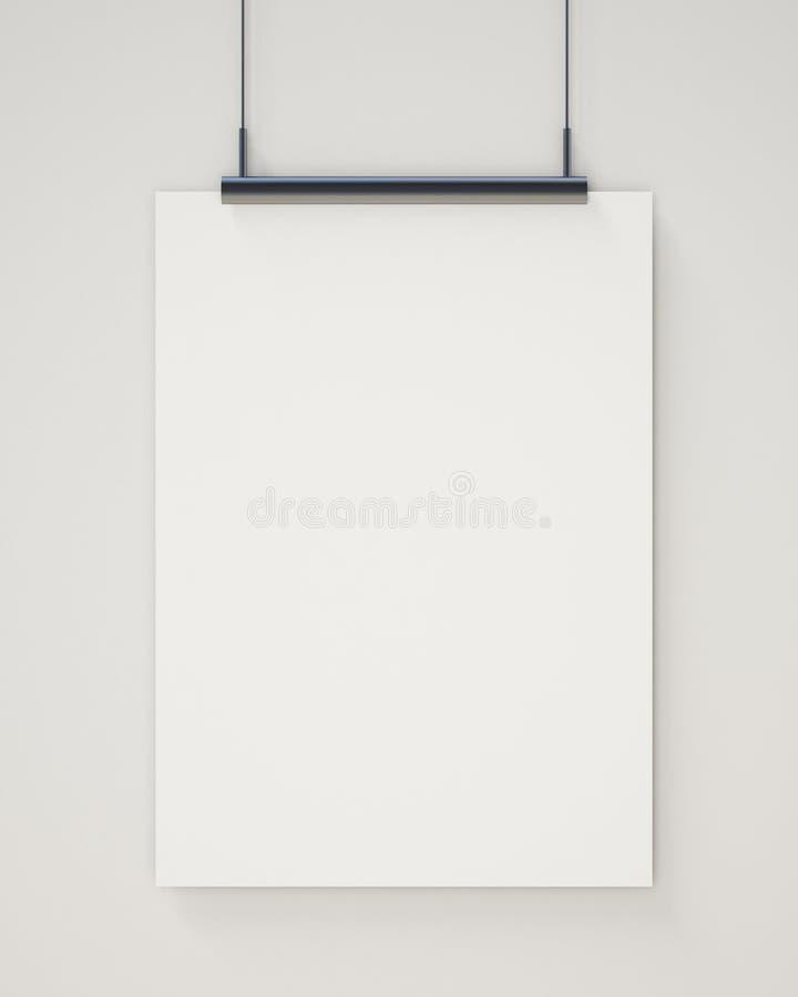嘲笑在白色墙壁,背景上的空白的白色垂悬的海报 免版税库存图片