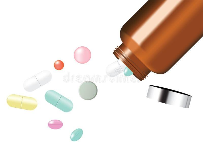 嘲笑在白色背景传染媒介例证的现实药片医学盘区 医疗的片剂和健康概念 向量例证