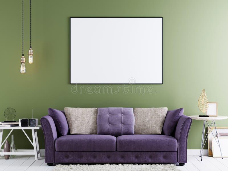 嘲笑在绿色墙壁上的海报在与紫罗兰色沙发和白色桌的现代行家内部 向量例证