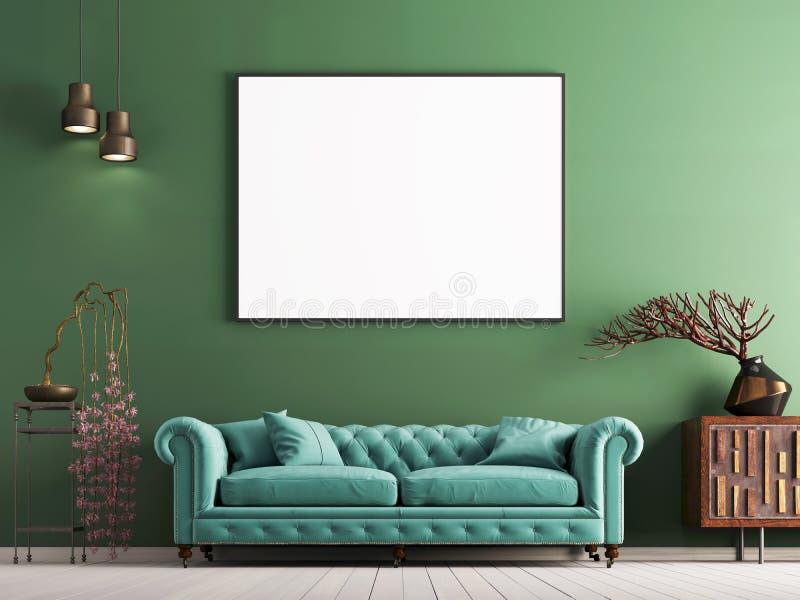 嘲笑在绿色墙壁上的海报在与轻的薄荷的沙发和装饰的内部古典样式 向量例证