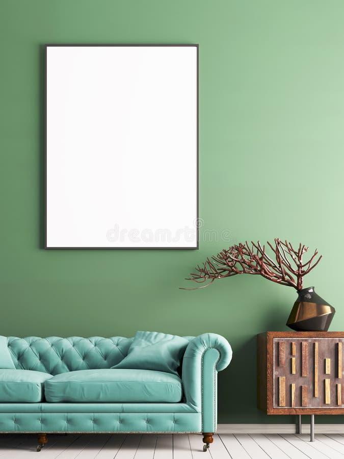 嘲笑在绿色墙壁上的海报在与轻的薄荷的沙发和装饰的内部古典样式 皇族释放例证