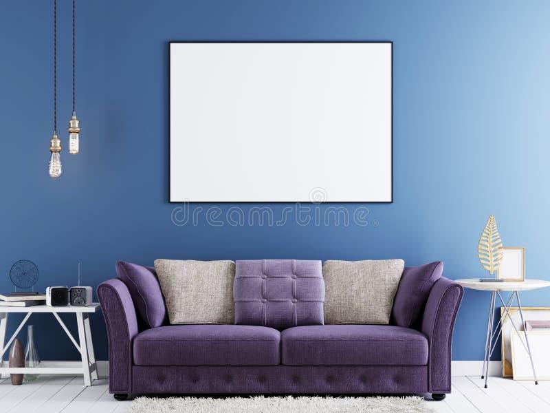 嘲笑在蓝色墙壁上的海报在与紫罗兰色沙发和白色桌的现代行家内部 皇族释放例证
