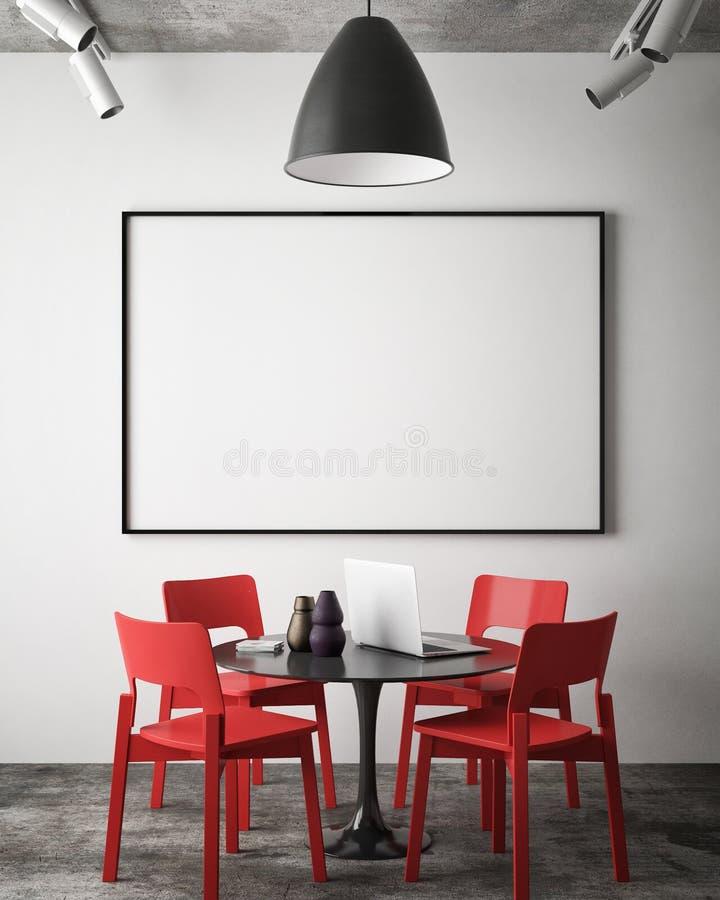 嘲笑在行家会议室墙壁上的空白的海报, 库存例证