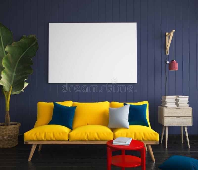 嘲笑在行家内部的海报与黄色沙发 库存照片