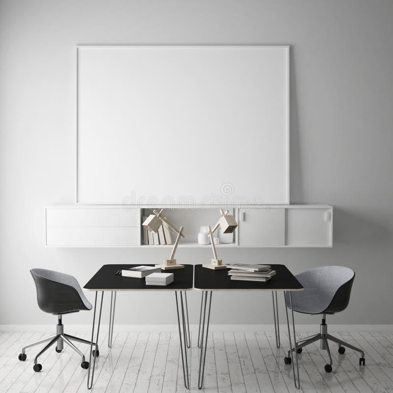 嘲笑在行家工作空间, 3D墙壁上的空白的海报翻译 库存例证