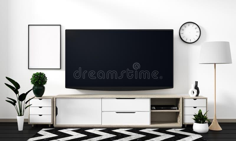 嘲笑在黑地板上的白色墙壁-假装在内阁设计和装饰现代日本风格的室聪明的电视 3d?? 皇族释放例证