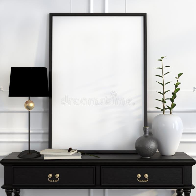 嘲笑在黑书桌上的海报有金装饰的 向量例证