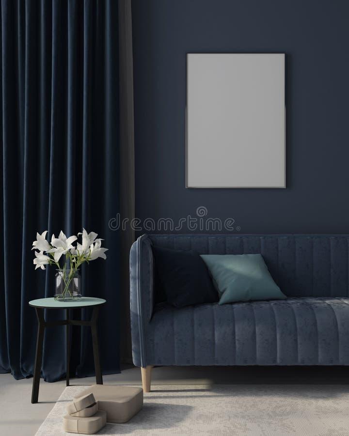 嘲笑客厅的内部单色蓝色的与海报 3d?? 库存例证