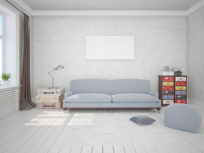嘲笑有一个原始的沙发的时兴的客厅 库存例证
