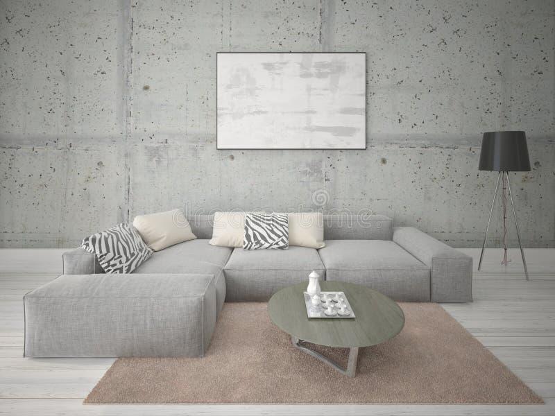 嘲笑有一个大壁角沙发的一个宽敞客厅 向量例证