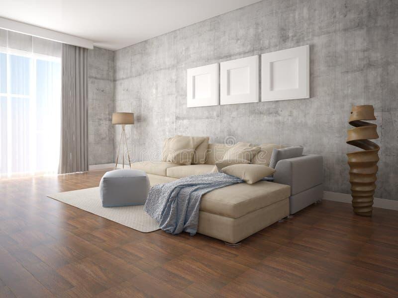 嘲笑有一个大壁角沙发的现代客厅 库存例证
