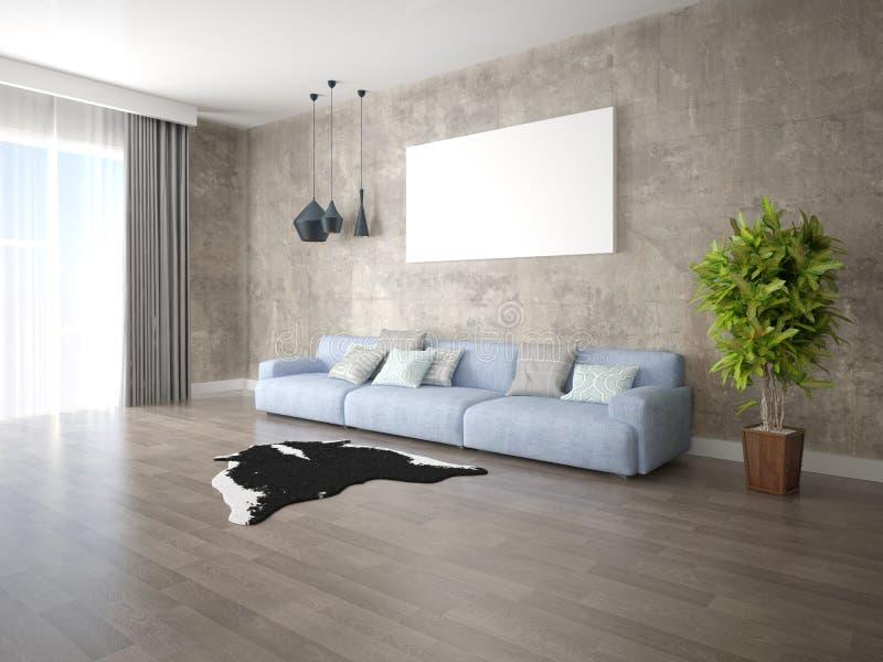 嘲笑有一个大时髦沙发的一个时髦的客厅 库存例证