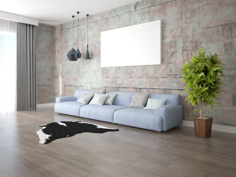 嘲笑有一个大时髦的沙发的时兴的客厅 向量例证