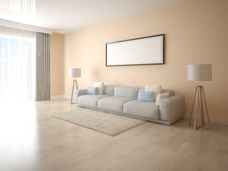 嘲笑有一个大沙发的一个明亮的客厅 库存例证