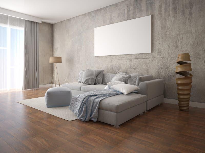 嘲笑有一个大灰色壁角沙发的一个现代客厅 皇族释放例证