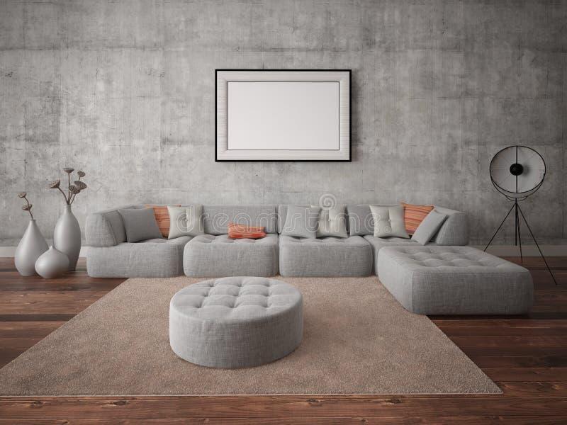 嘲笑有一个大灰色沙发的一个现代客厅 库存例证