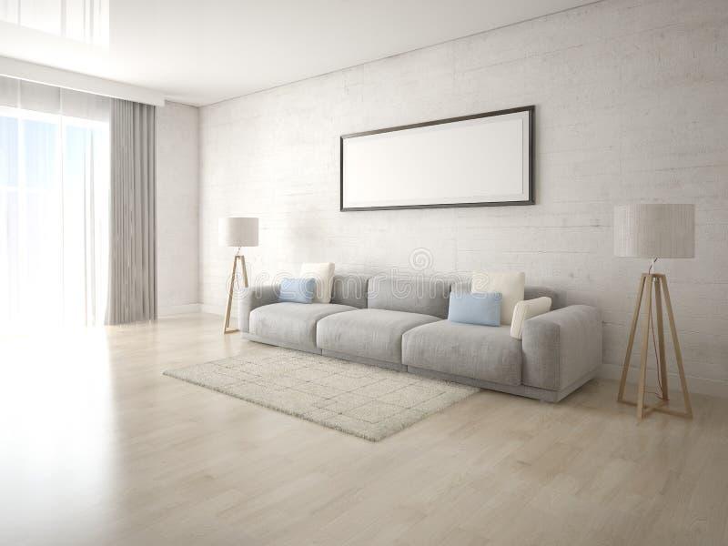 嘲笑有一个大舒适的沙发的原始的客厅 向量例证
