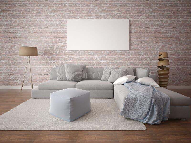 嘲笑有一个大舒适的沙发的时兴的客厅 向量例证