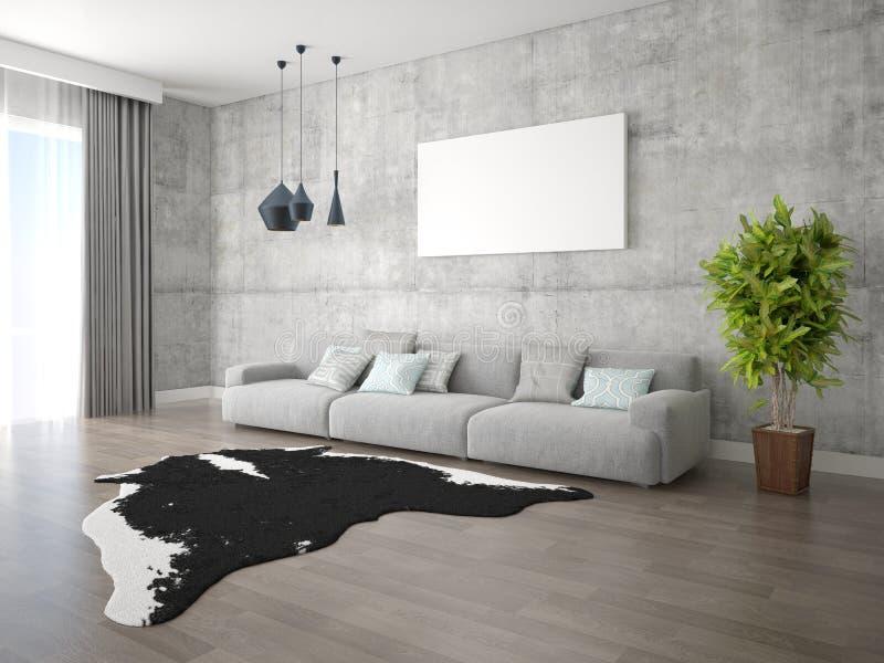 嘲笑有一个大舒适的沙发的现代客厅 向量例证
