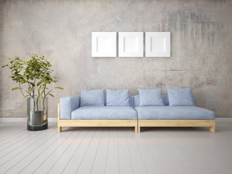 嘲笑有一个时兴的舒适的沙发的原始的客厅 向量例证