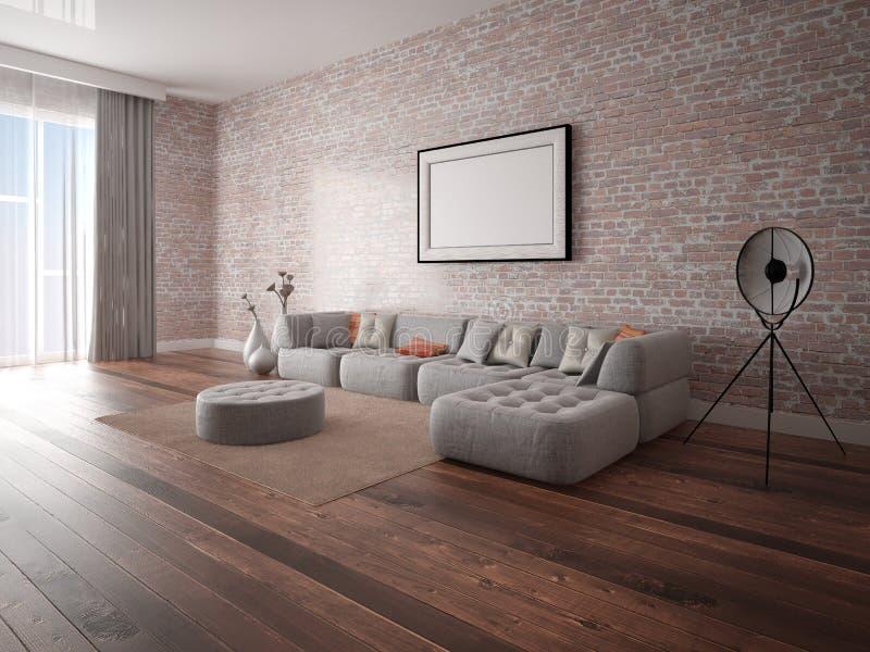嘲笑有一个时髦壁角沙发的一个完善的客厅 库存例证