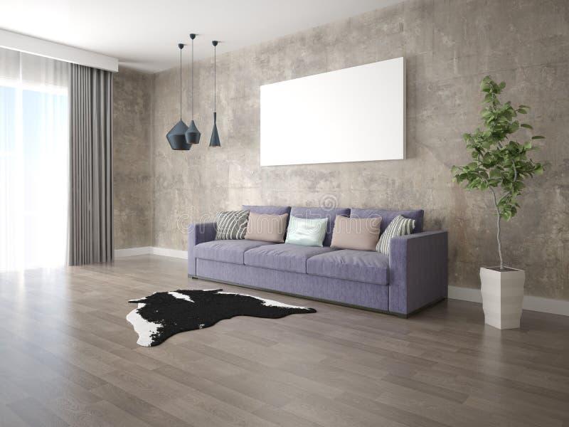 嘲笑有一个时髦沙发的一个宽敞客厅 免版税库存照片
