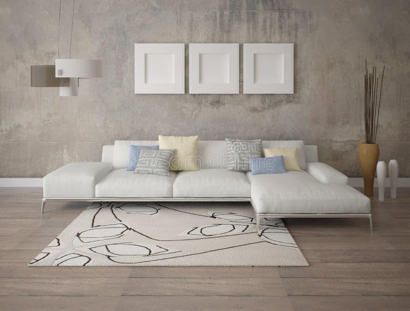 嘲笑有一个时髦的壁角沙发的现代客厅 库存例证