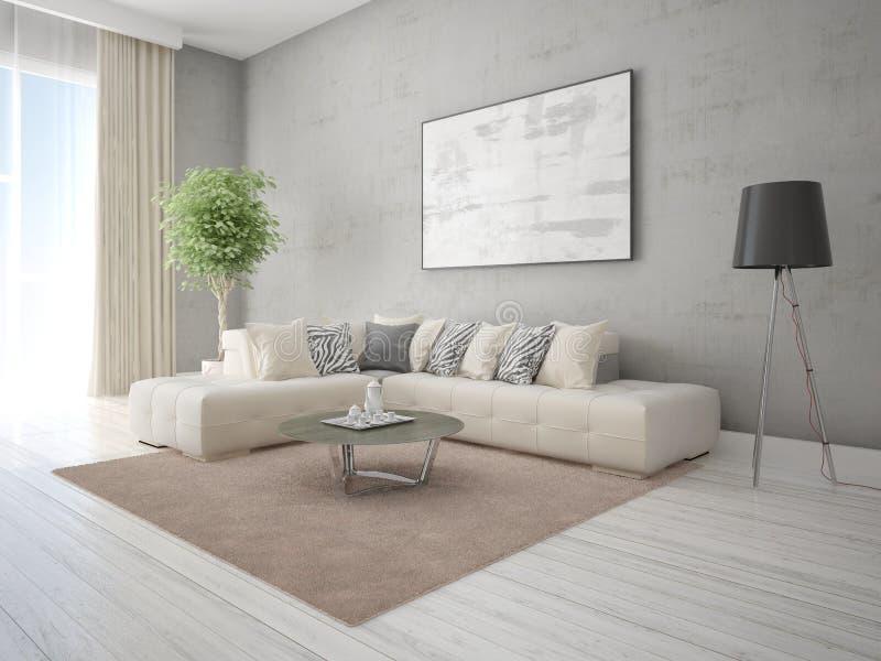 嘲笑有一个时髦的壁角沙发的一个时髦的客厅 皇族释放例证
