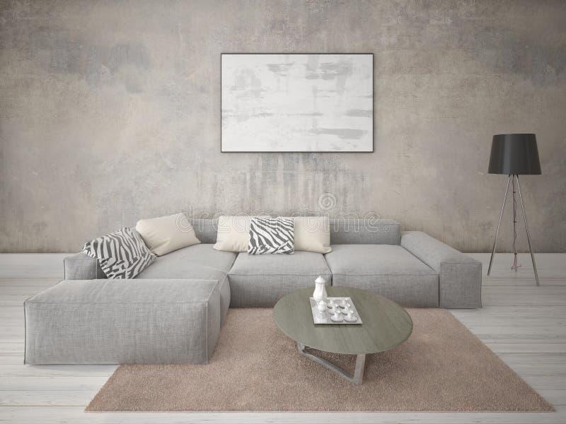 嘲笑有一个时髦的壁角沙发的时兴的客厅 库存例证