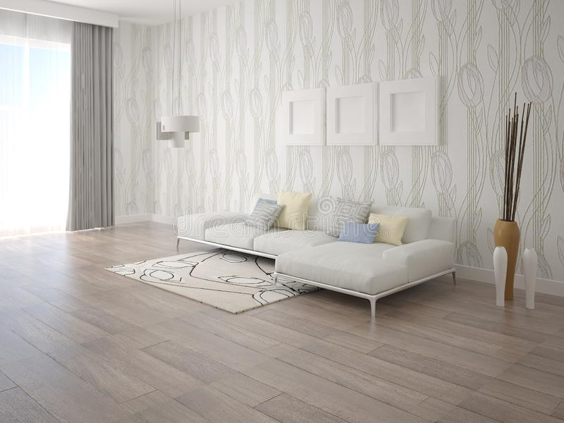 嘲笑有一个时髦的壁角沙发的现代客厅 向量例证