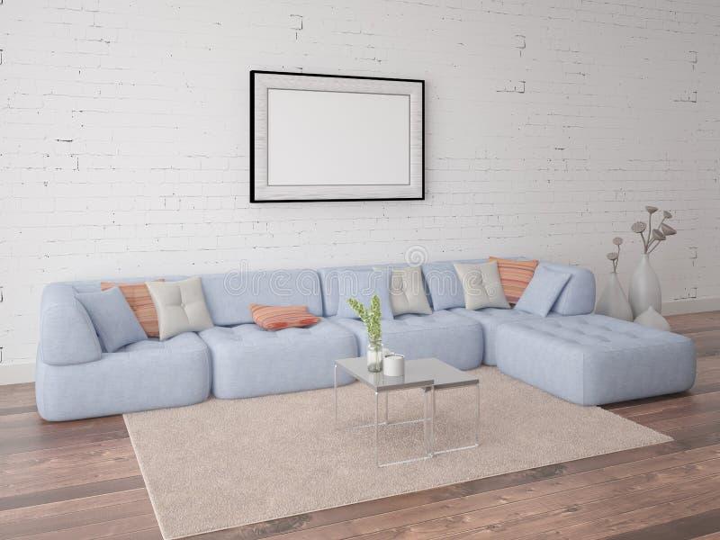 嘲笑有一个时髦的沙发的海报客厅 免版税图库摄影