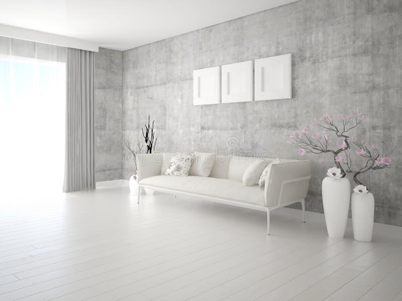 嘲笑有一个时髦的轻的沙发的时兴的客厅 向量例证